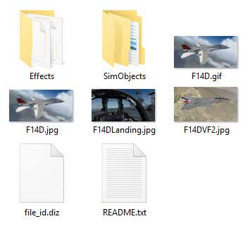 addon aircraft folder contents