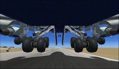 boeing 747-400 back landing gear camera view