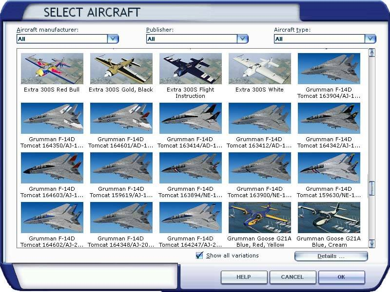 aircraft selection menu